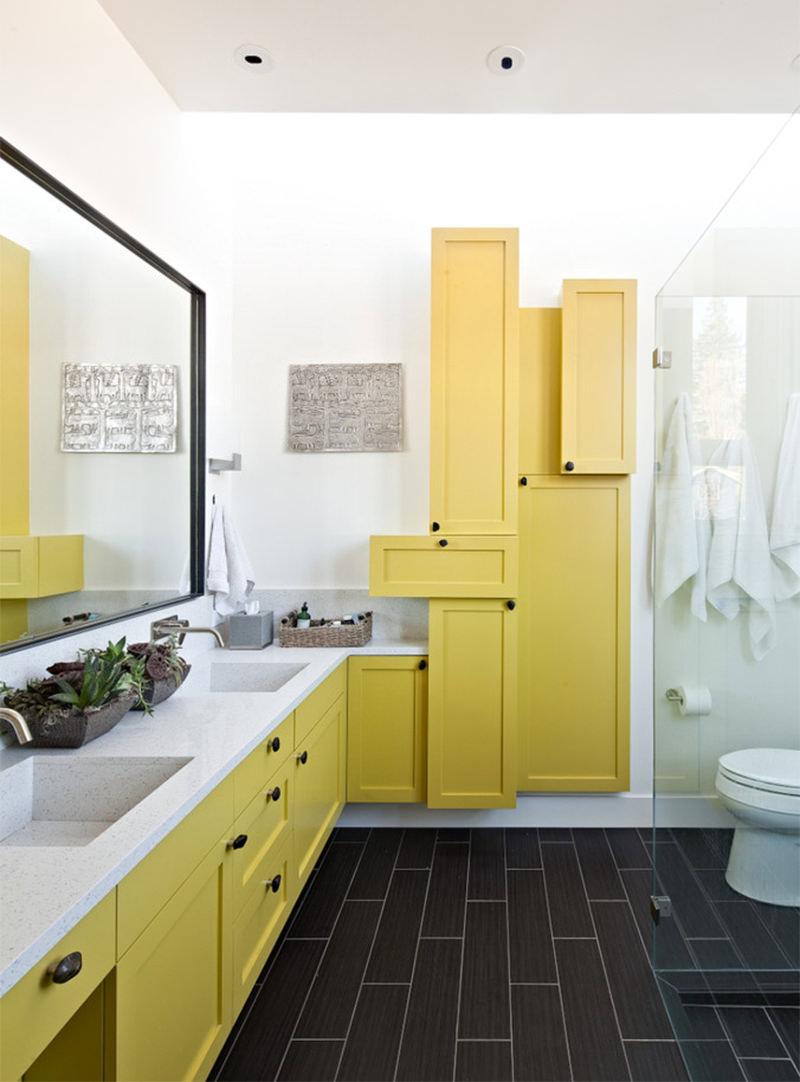 4 Dicas para decorar o banheiro  Falk Art e Decoração -> Armario De Banheiro Amarelo