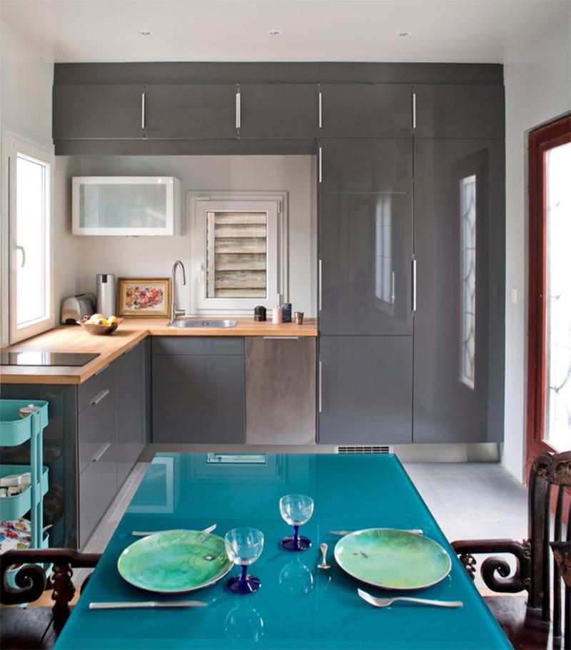 Cinza na decoração  Falk Art e Decoração # Cozinha Planejada Na Cor Azul Turquesa