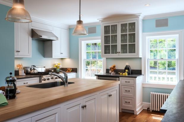 blue white kitchen