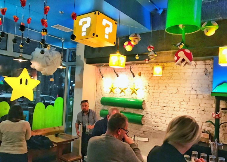 DC pop-up bar mario bros cereja flor tema